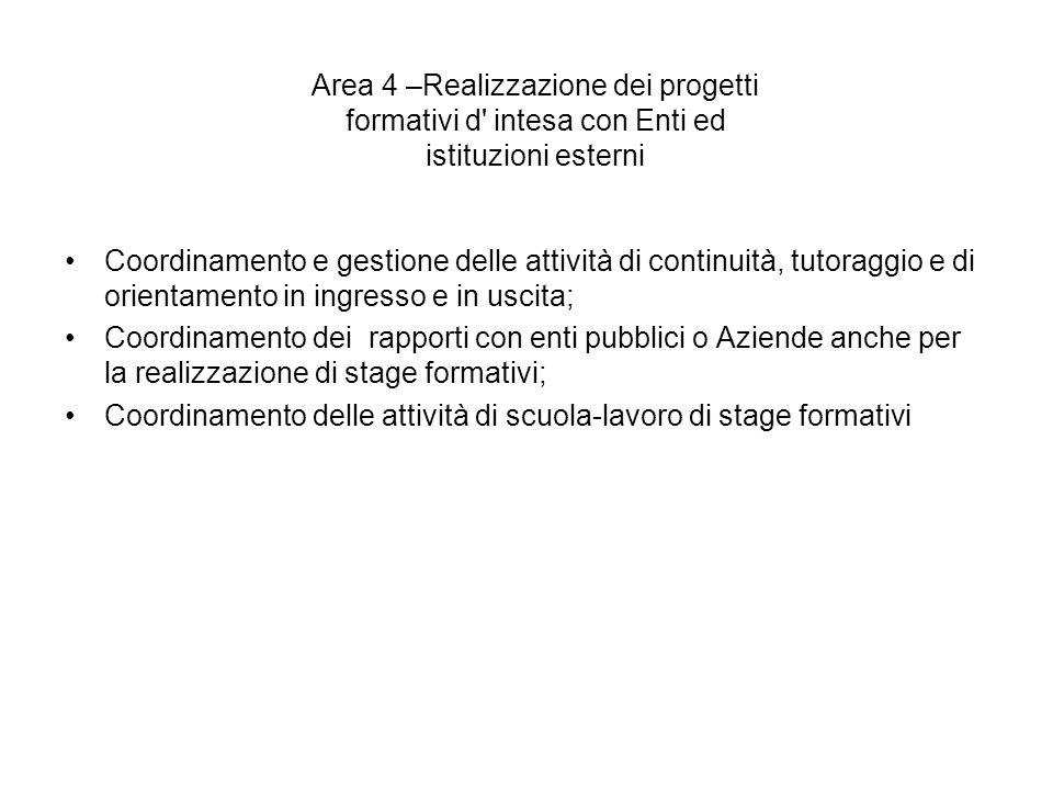 Area 4 –Realizzazione dei progetti formativi d intesa con Enti ed istituzioni esterni