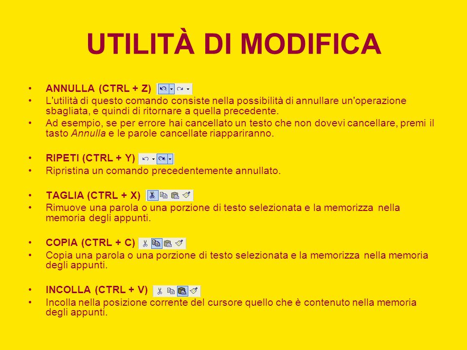 UTILITÀ DI MODIFICA ANNULLA (CTRL + Z)