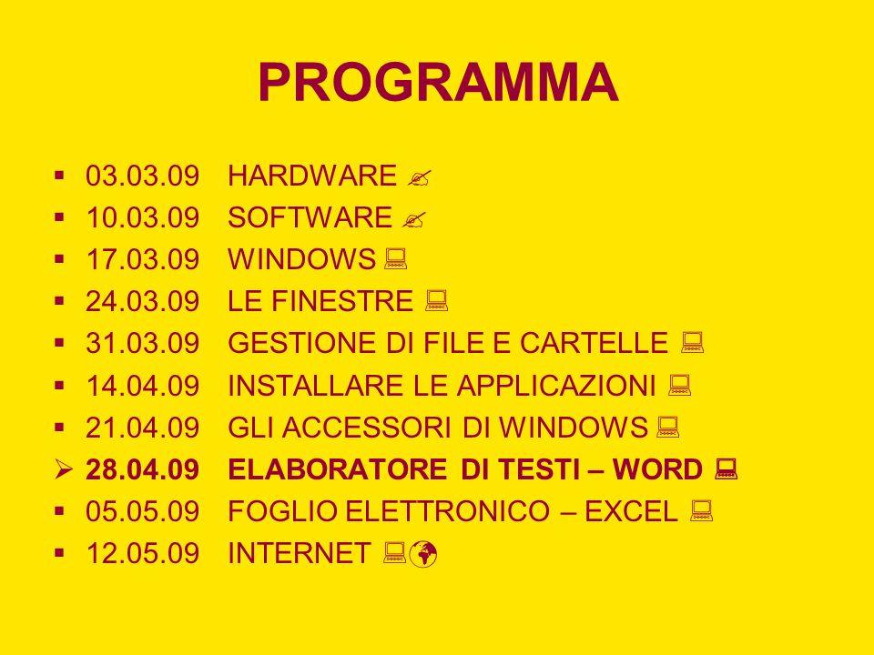 PROGRAMMA 03.03.09 HARDWARE  10.03.09 SOFTWARE  17.03.09 WINDOWS 