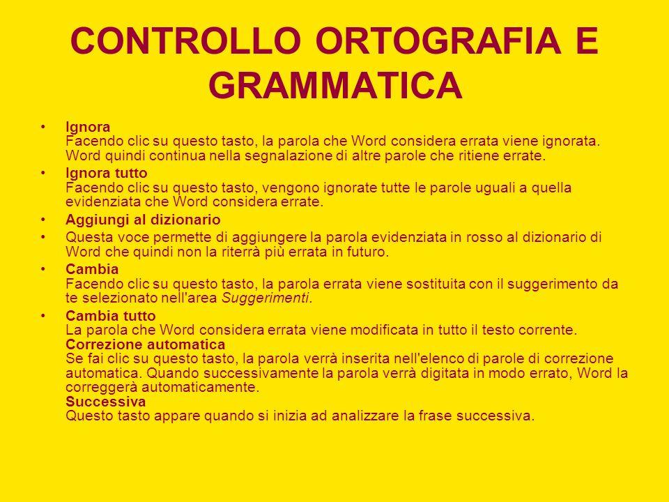 CONTROLLO ORTOGRAFIA E GRAMMATICA