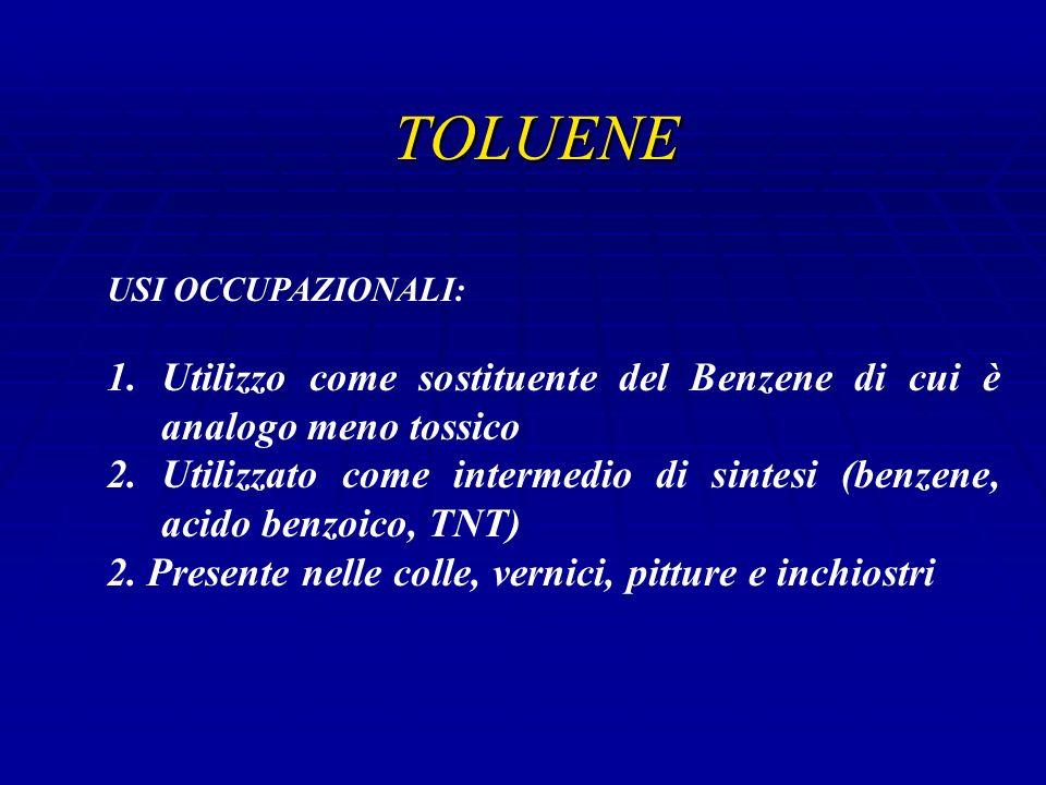 TOLUENE USI OCCUPAZIONALI: Utilizzo come sostituente del Benzene di cui è analogo meno tossico.