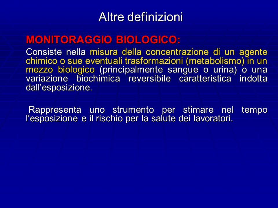 Altre definizioni MONITORAGGIO BIOLOGICO: