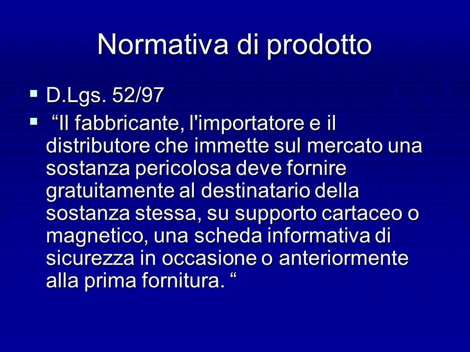 Normativa di prodotto D.Lgs. 52/97