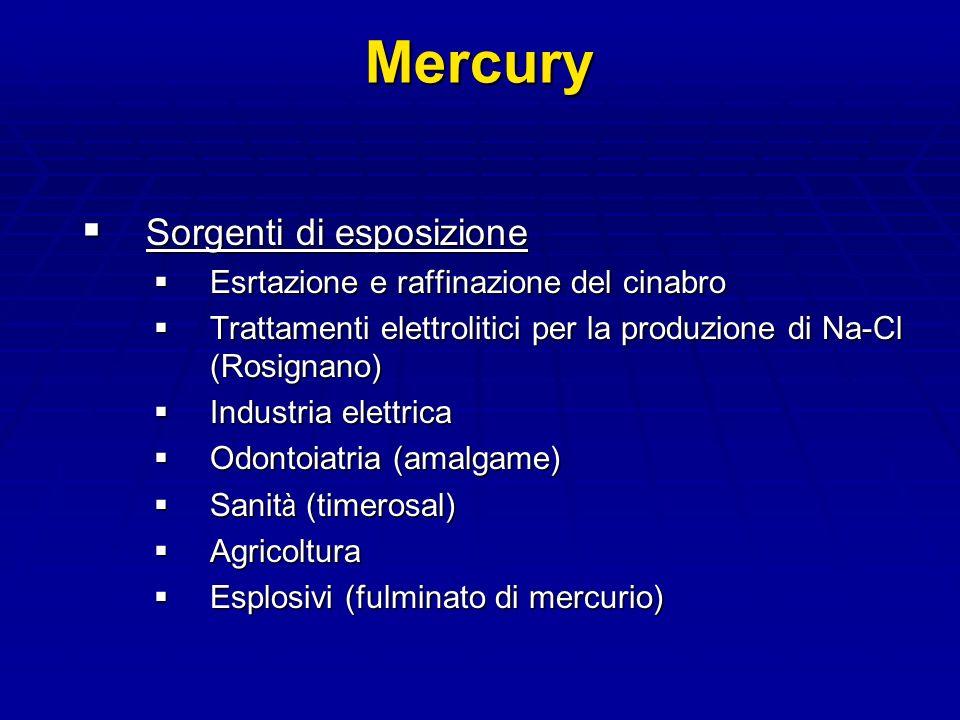Mercury Sorgenti di esposizione Esrtazione e raffinazione del cinabro