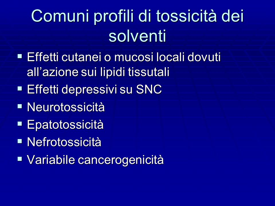 Comuni profili di tossicità dei solventi