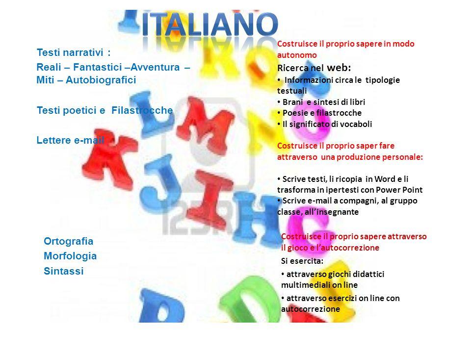 ITALIANO Testi narrativi : Ricerca nel web:
