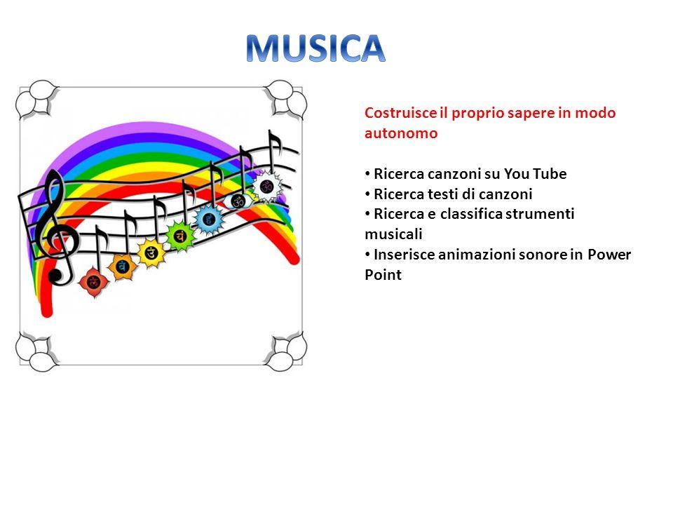 MUSICA Costruisce il proprio sapere in modo autonomo
