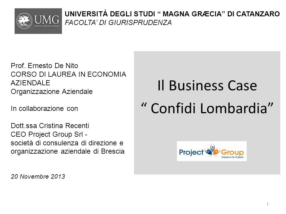 Il Business Case Confidi Lombardia