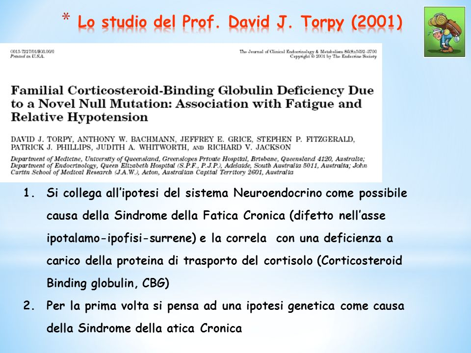 Lo studio del Prof. David J. Torpy (2001)