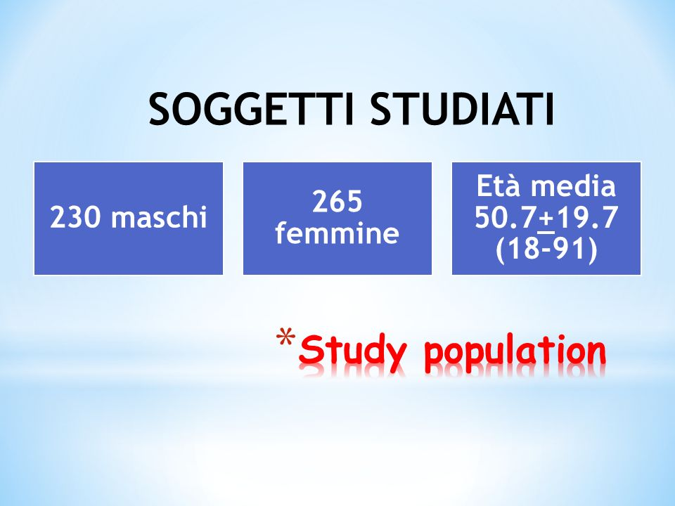SOGGETTI STUDIATI Study population Età media 50.7+19.7 (18-91)