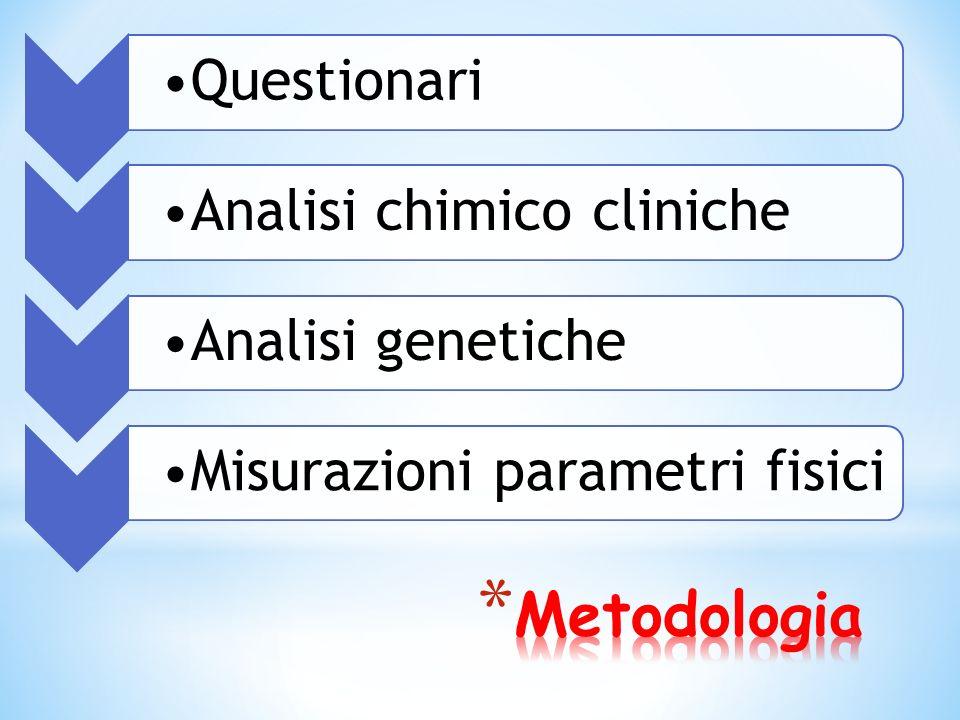 Metodologia Questionari Analisi chimico cliniche Analisi genetiche