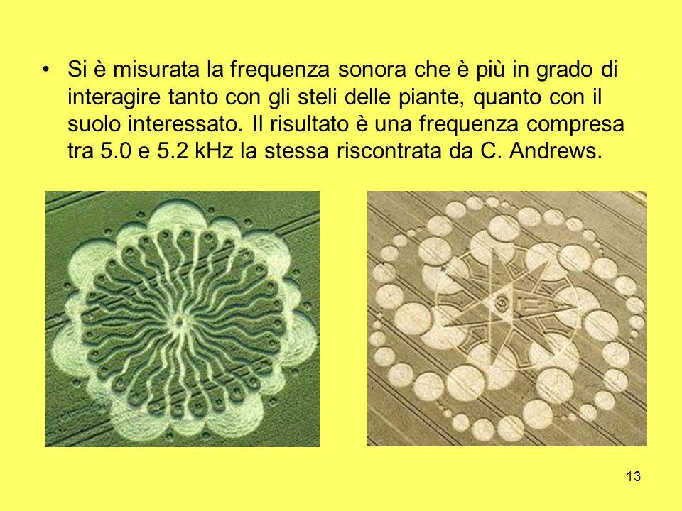 Si è misurata la frequenza sonora che è più in grado di interagire tanto con gli steli delle piante, quanto con il suolo interessato.