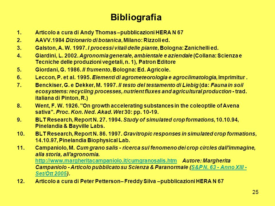 Bibliografia Articolo a cura di Andy Thomas –pubblicazioni HERA N 67