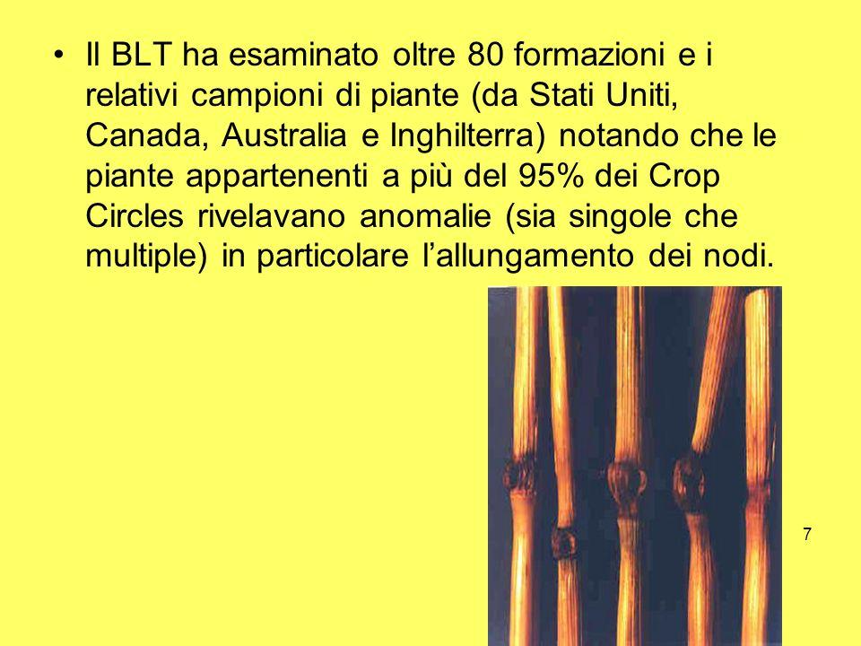 Il BLT ha esaminato oltre 80 formazioni e i relativi campioni di piante (da Stati Uniti, Canada, Australia e Inghilterra) notando che le piante appartenenti a più del 95% dei Crop Circles rivelavano anomalie (sia singole che multiple) in particolare l'allungamento dei nodi.