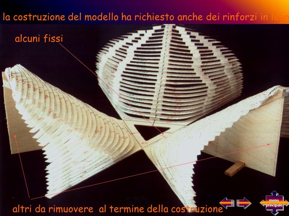 la costruzione del modello ha richiesto anche dei rinforzi in legno