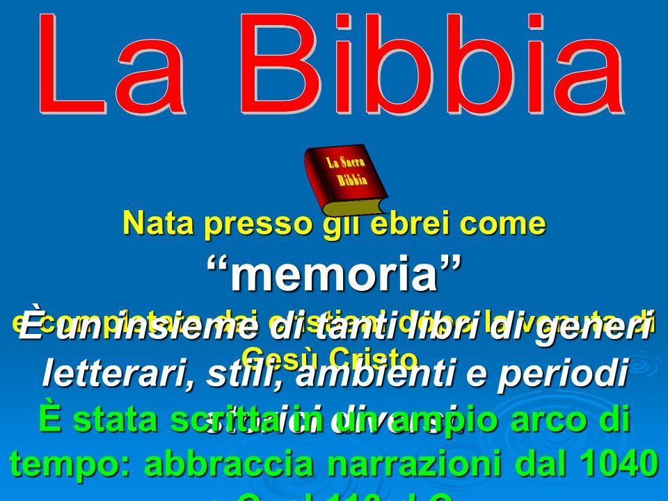 La Bibbia Nata presso gli ebrei come memoria e completata dai cristiani dopo la venuta di Gesù Cristo.