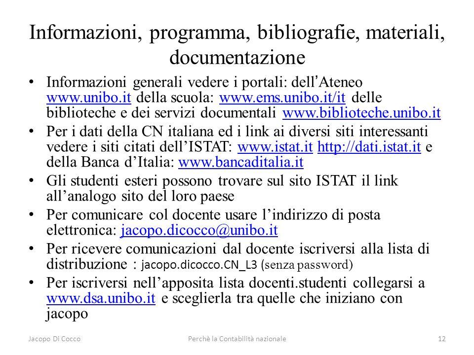 Informazioni, programma, bibliografie, materiali, documentazione