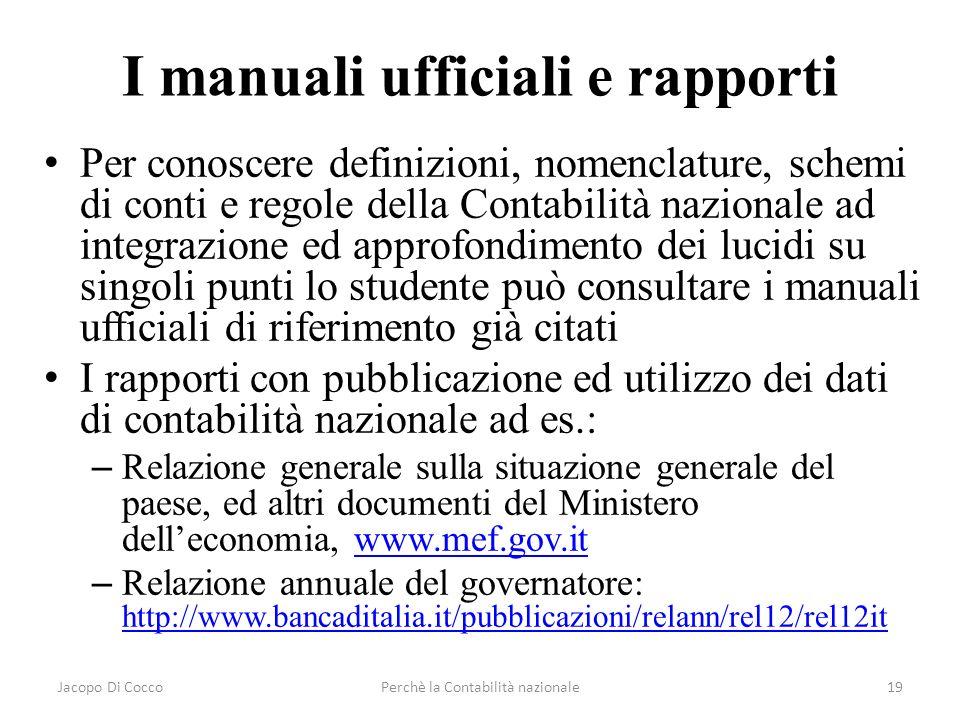 I manuali ufficiali e rapporti