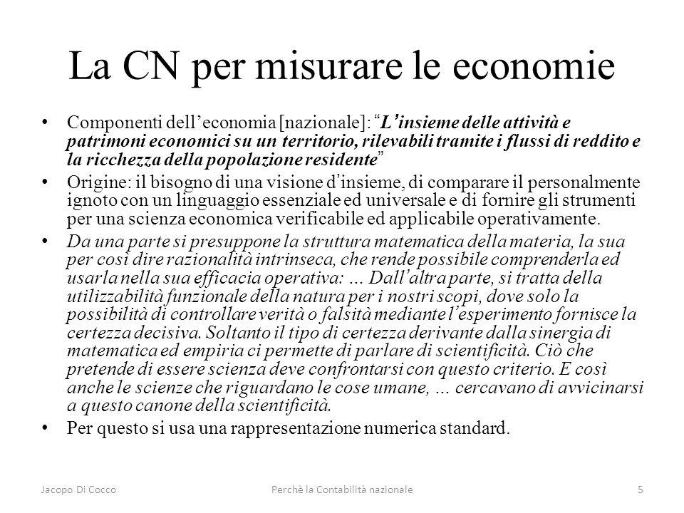 La CN per misurare le economie