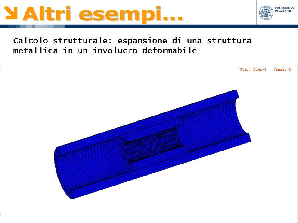 Altri esempi... Calcolo strutturale: espansione di una struttura metallica in un involucro deformabile.