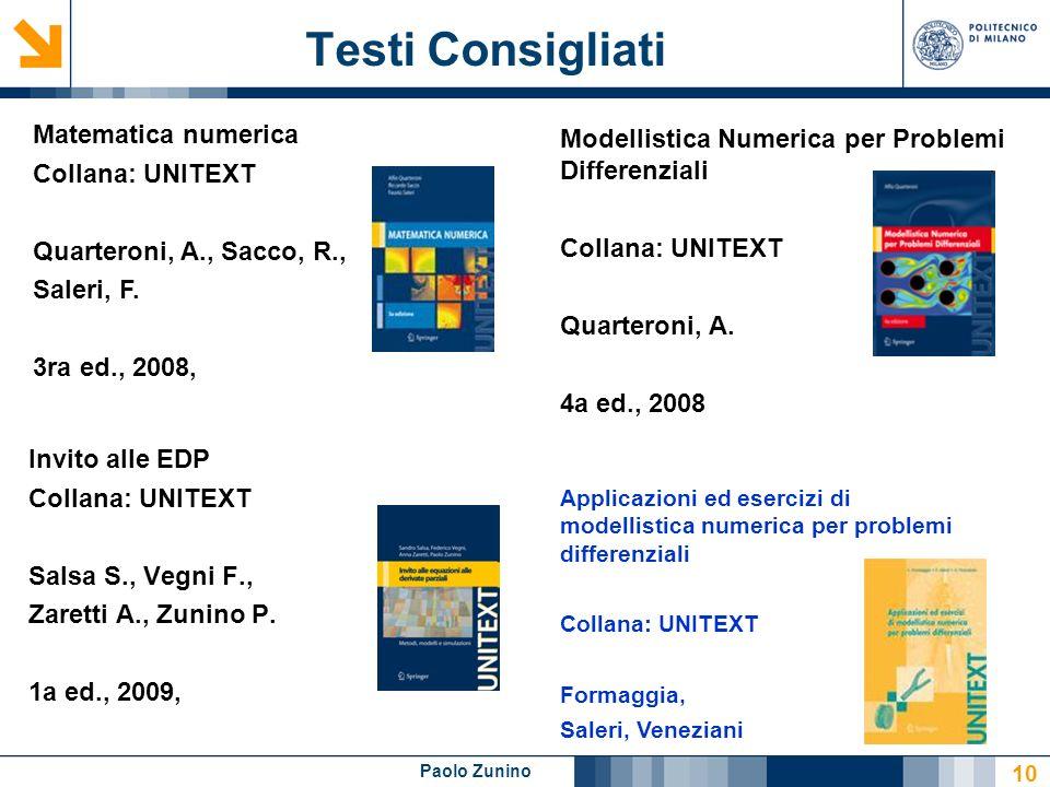 Testi Consigliati Matematica numerica