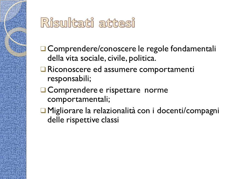 Risultati attesi Comprendere/conoscere le regole fondamentali della vita sociale, civile, politica.