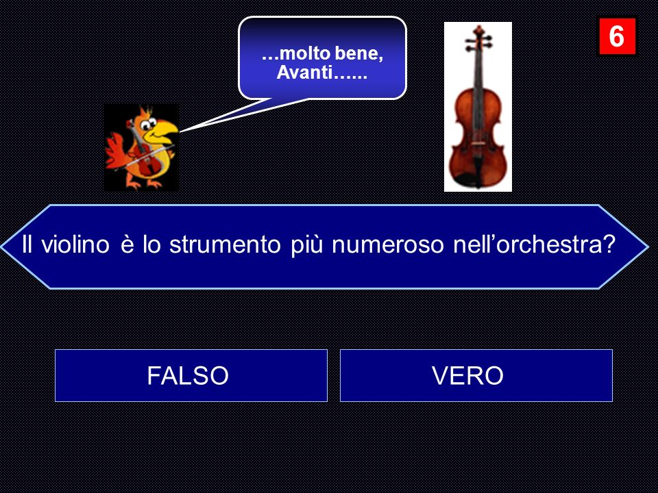 Il violino è lo strumento più numeroso nell'orchestra