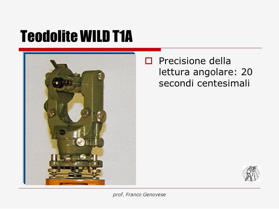 Teodolite WILD T1A Precisione della lettura angolare: 20 secondi centesimali prof. Franco Genovese