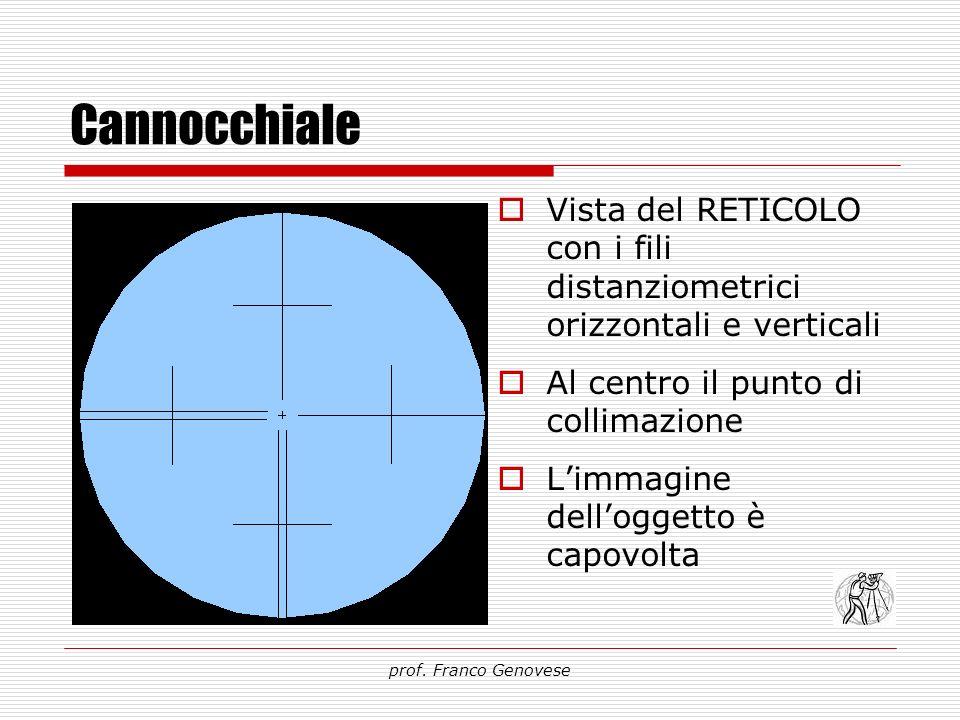 Cannocchiale Vista del RETICOLO con i fili distanziometrici orizzontali e verticali. Al centro il punto di collimazione.