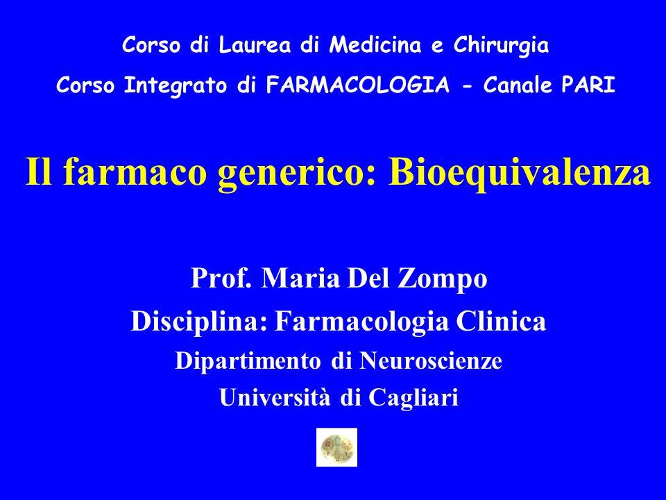 Il farmaco generico: Bioequivalenza