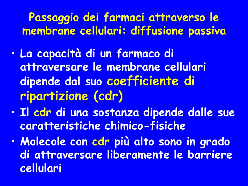 Passaggio dei farmaci attraverso le membrane cellulari: diffusione passiva