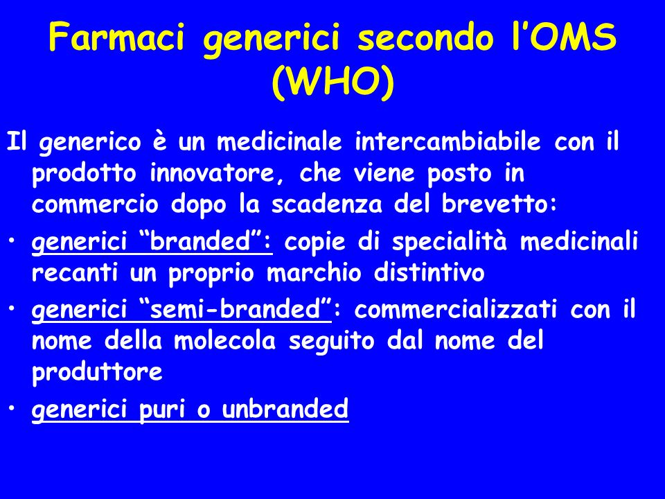 Farmaci generici secondo l'OMS (WHO)