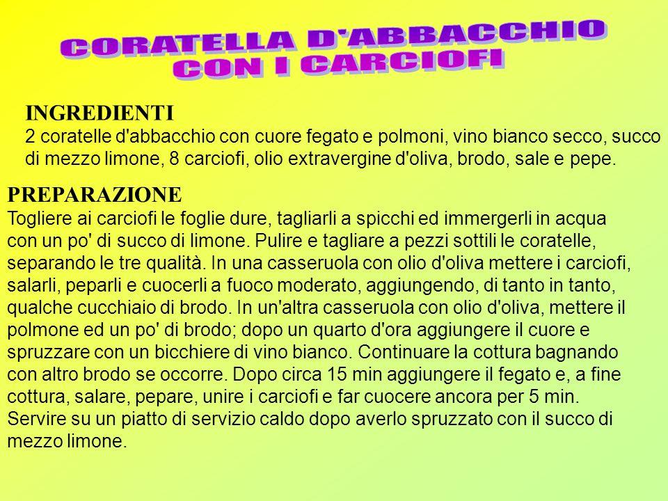 CORATELLA D ABBACCHIO CON I CARCIOFI INGREDIENTI PREPARAZIONE