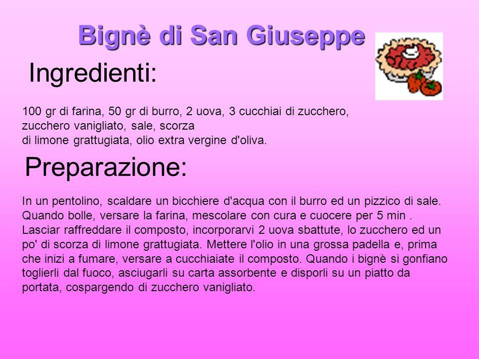 Bignè di San Giuseppe Ingredienti: Preparazione: