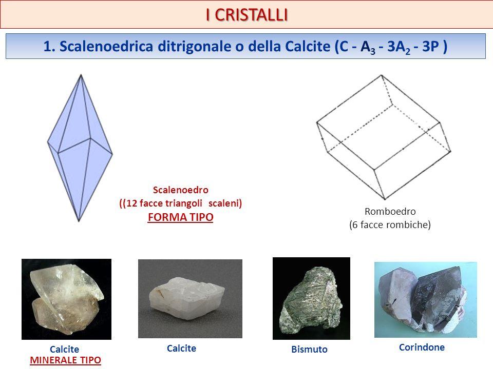 I CRISTALLI 1. Scalenoedrica ditrigonale o della Calcite (C - A3 - 3A2 - 3P ) Scalenoedro. ((12 facce triangoli scaleni)