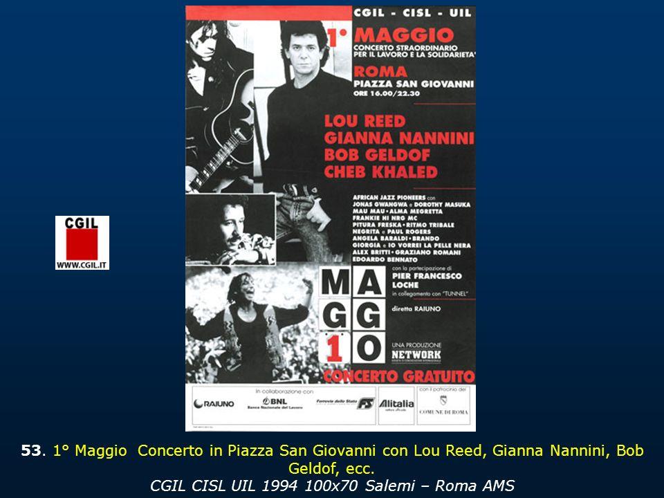 53. 1° Maggio Concerto in Piazza San Giovanni con Lou Reed, Gianna Nannini, Bob Geldof, ecc.