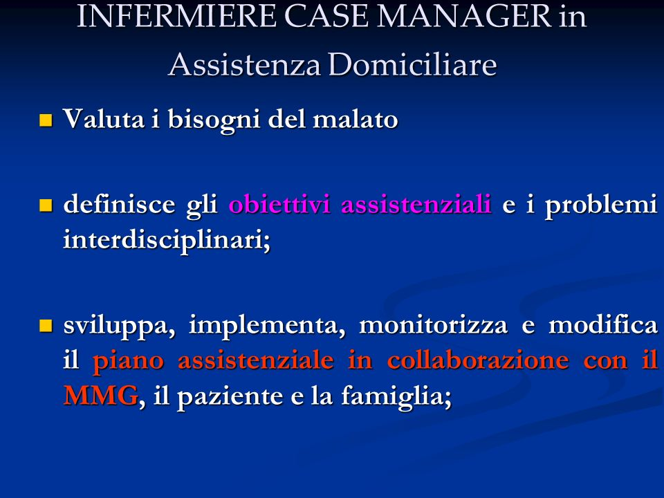 INFERMIERE CASE MANAGER in Assistenza Domiciliare