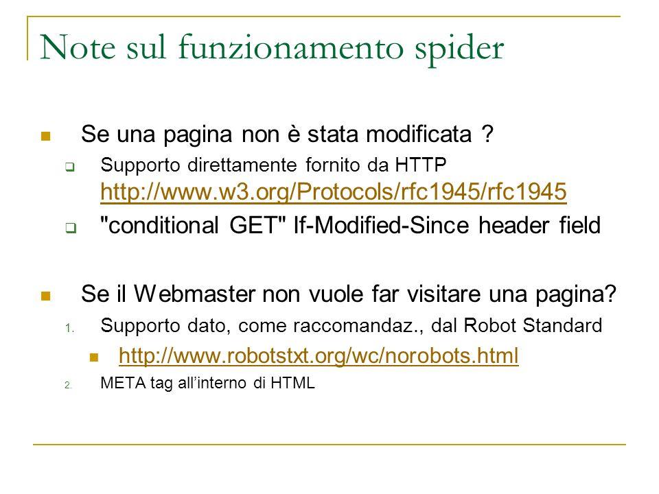 Note sul funzionamento spider