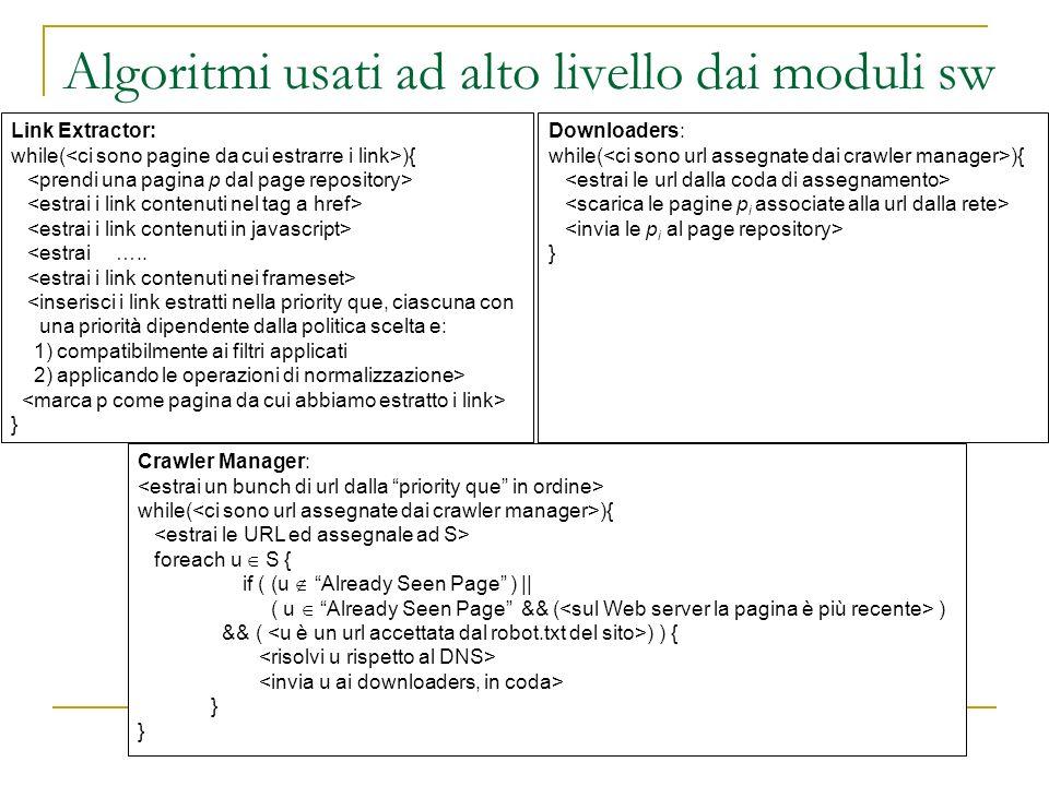 Algoritmi usati ad alto livello dai moduli sw
