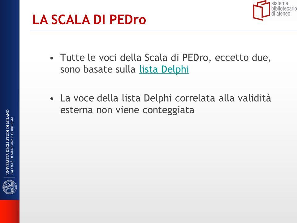 LA SCALA DI PEDro Tutte le voci della Scala di PEDro, eccetto due, sono basate sulla lista Delphi.
