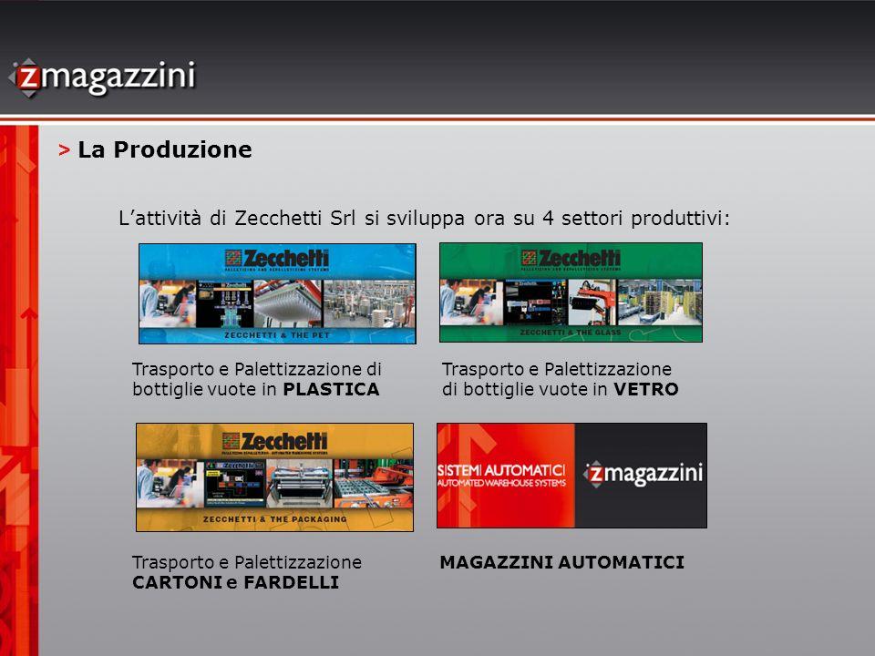 > La Produzione L'attività di Zecchetti Srl si sviluppa ora su 4 settori produttivi: Trasporto e Palettizzazione di bottiglie vuote in PLASTICA.