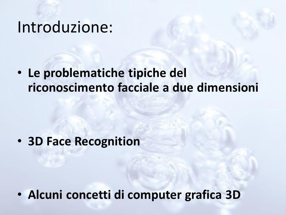 Introduzione: Le problematiche tipiche del riconoscimento facciale a due dimensioni. 3D Face Recognition.