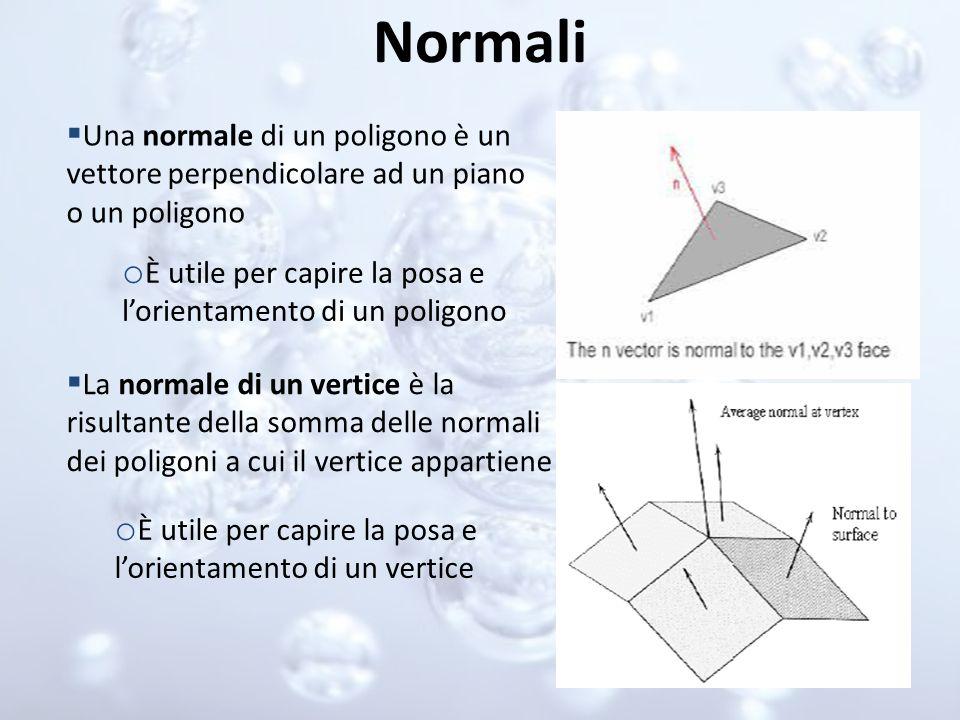 Normali Una normale di un poligono è un vettore perpendicolare ad un piano o un poligono. È utile per capire la posa e l'orientamento di un poligono.
