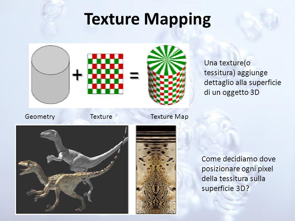 Texture Mapping Una texture(o tessitura) aggiunge dettaglio alla superficie di un oggetto 3D. Geometry.