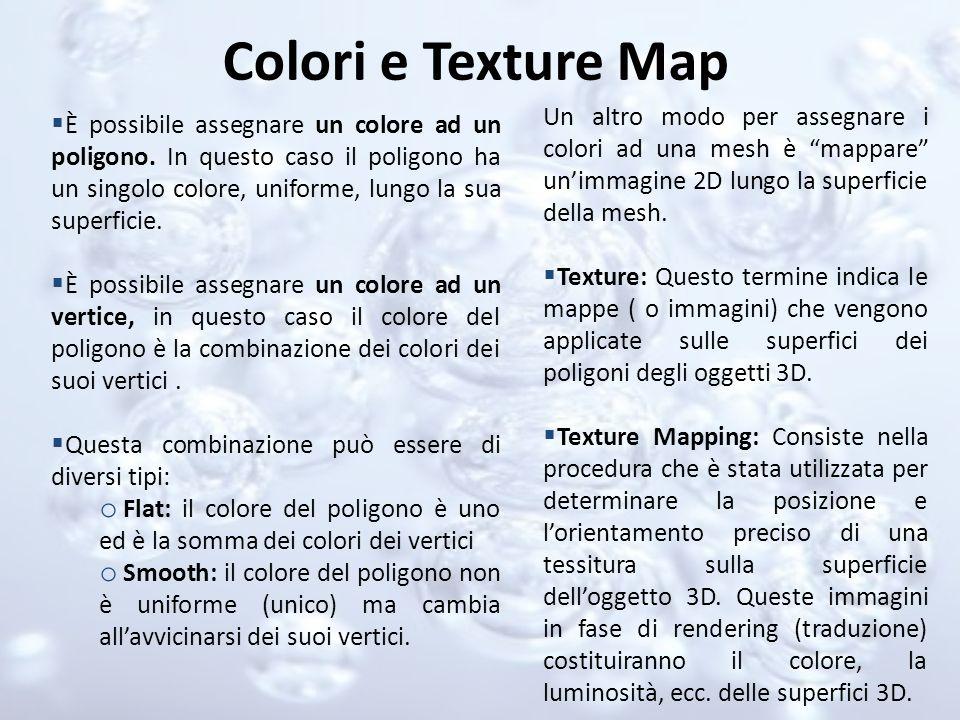Colori e Texture Map Un altro modo per assegnare i colori ad una mesh è mappare un'immagine 2D lungo la superficie della mesh.