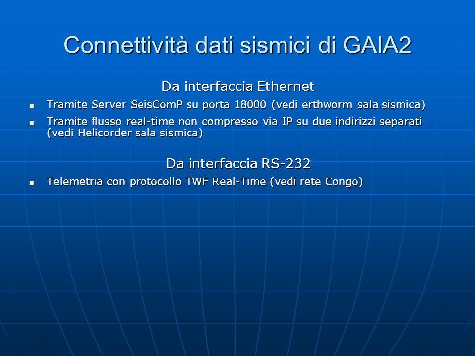 Connettività dati sismici di GAIA2