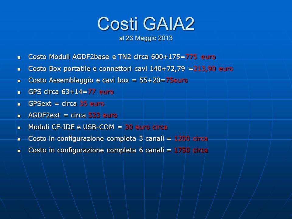 Costi GAIA2 al 23 Maggio 2013Costo Moduli AGDF2base e TN2 circa 600+175=775 euro. Costo Box portatile e connettori cavi 140+72,79 =213,90 euro.