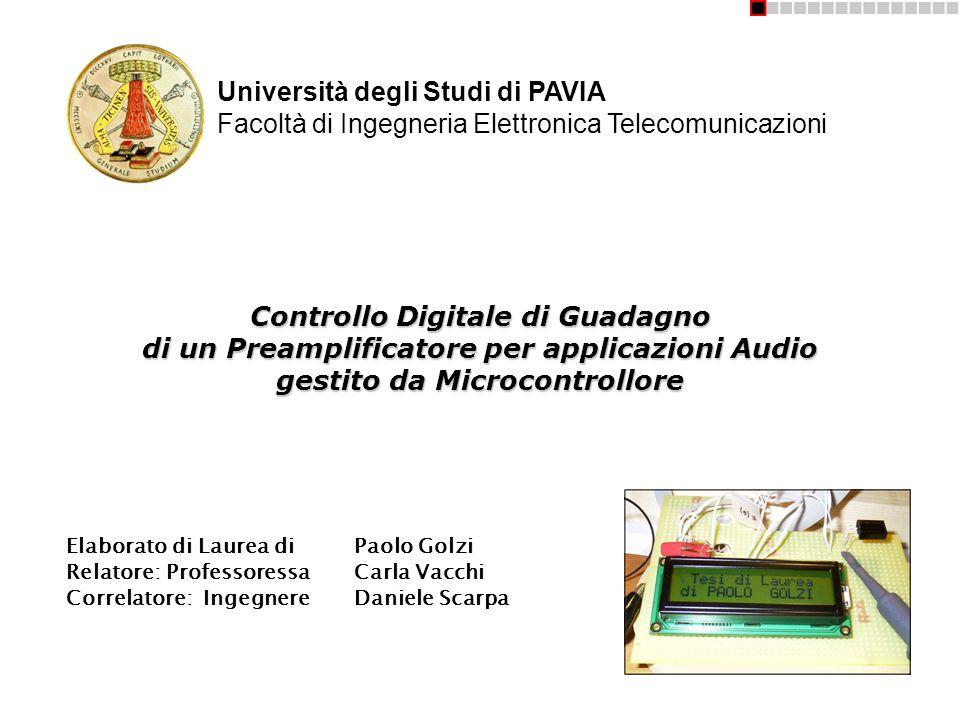 Intestazione Università degli Studi di PAVIA Facoltà di Ingegneria Elettronica Telecomunicazioni.