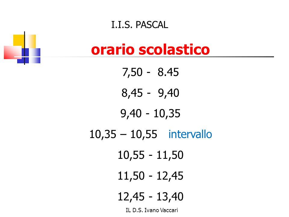 I.I.S. PASCAL orario scolastico. 7,50 - 8.45. 8,45 - 9,40. 9,40 - 10,35. 10,35 – 10,55 intervallo.