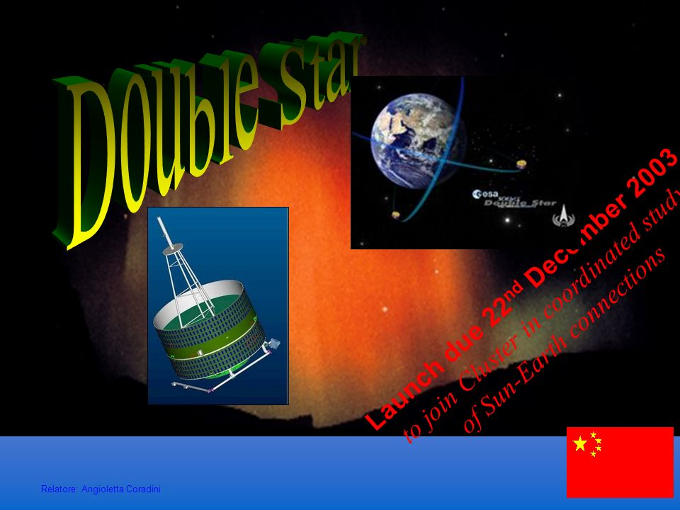 Double StarLaunch due 22nd December 2003 to join Cluster in coordinated study of Sun-Earth connections.
